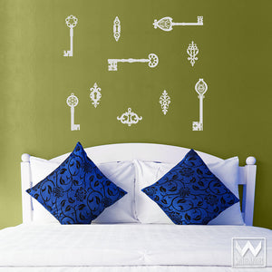 Vintage Wall Decor with Easy DIY Application - Antique Skeleton Keys Hardware Vinyl Wall Decals - Wallternatives
