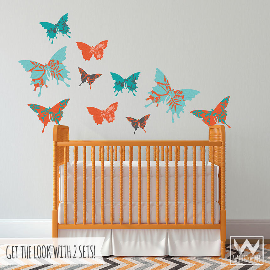 ... Baby Nursery Decor   Removable Floral Design Butterfly Wall Art And Wall  Decals ... Part 76
