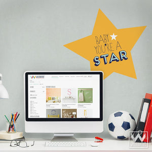 Gold Star You're a Star Removable Wall Decals for Office, Desk or School Decorating - Wallternatives