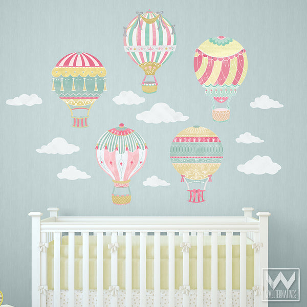 Hot Air Balloons Sky Clouds Wall Print Fabric Wall Decal
