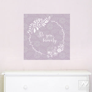 Inspirational Quote and Flower Removable Wall Decals - Wallternatives