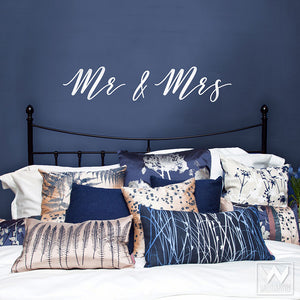 Mr & Mrs Wall Decals for Peel and Stick Wall Art Quote - Wallternatives