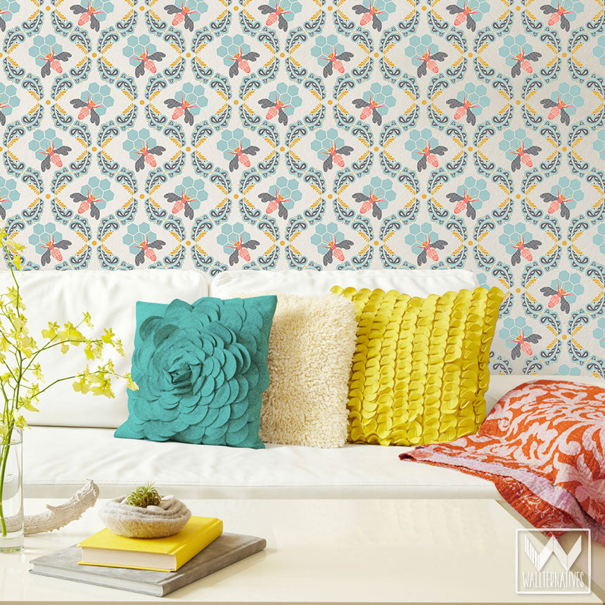Bonnie Christine\'s Sweet Honey Bee Pattern is a Removable Wallpaper ...