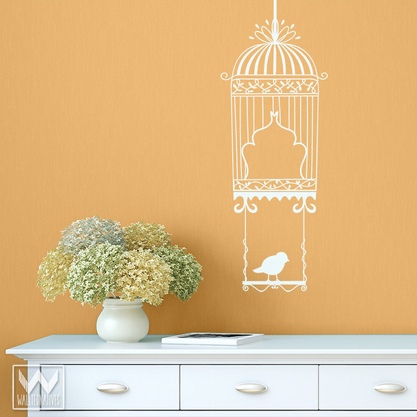 Bird On A Swing Vinyl Wall Decal Art Birdcage For Kitchen Nursery ...
