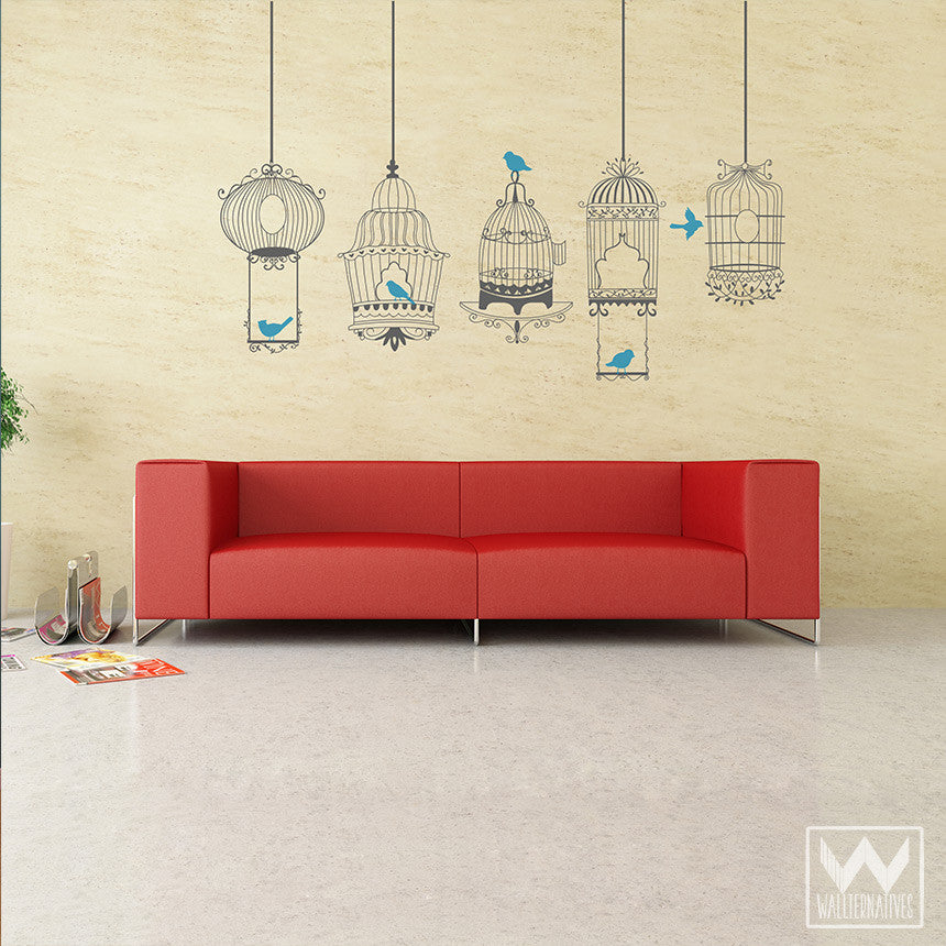 Large Bird Cage Vinyl Wall Decals For Vintage Retro Accent Wall Decorating    Wallternatives ...