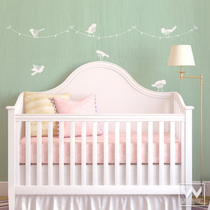 Birds on a Wire Delicate and Sweet Nursery Decor or Shabby Chic Wall Art - Bird Vinyl Wall Decals - Wallternatives