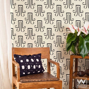 Black and White Ancient Egyptian Calligraphy - Removable Wallpaper from Wallternatives