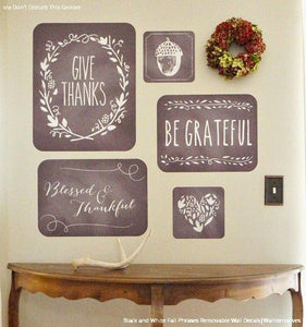 Thanksgiving Phrases Removable Wall Decals Fall Or Autumn Home