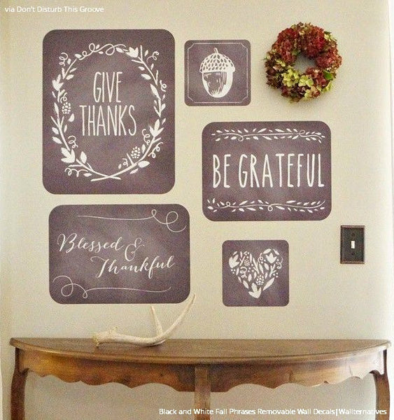 Thanksgiving Phrases Removable Wall Decals - Fall or Autumn Home ...