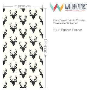 Designer Bonnie Christine Removable Wallpaper for Wallternatives - Black and White Deer Heads and Deer Antlers