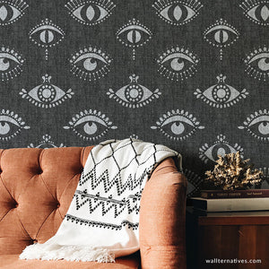 Black and White Bohemian Removable Wallpapers - Protective Eyes Wall Mural - Evil Eye Boho Wall Art - Peel and Stick Wallpaper from Wallternatives