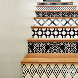 Black and White Moroccan Interior Design - DIY Stair Riser Decals for Decorating - Wallternatives