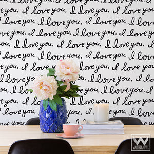 Black and White Removable Wallpaper with I Love You Wall Quote Script - Wallternatives Wall Art