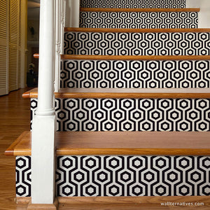 Black and White Stair Decals Modern Wallpaper Stairs Stickers - Wallternatives wallternatives.com