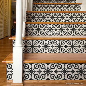 Black and White Stairs Design European Tile Pattern Stair Stickers - Wallternatives wallternatives.com