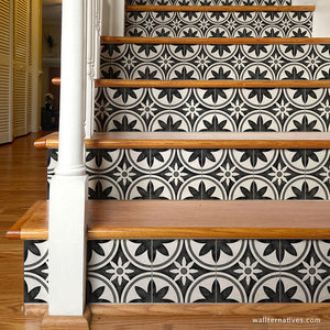 Blacka and white stairs black and white tiles Moroccan wallapper stair riser decals - Wallternatives wallternatives.com
