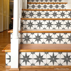 Black and White Star Tiles Design Removable Wallpaper Stair Riser Decals - Wallternatives wallternatives.com
