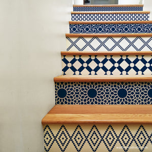 Peel and Stick Stair Risers Pattern Moroccan Bohemian Style Decor Stairs Decals - Wallternatives