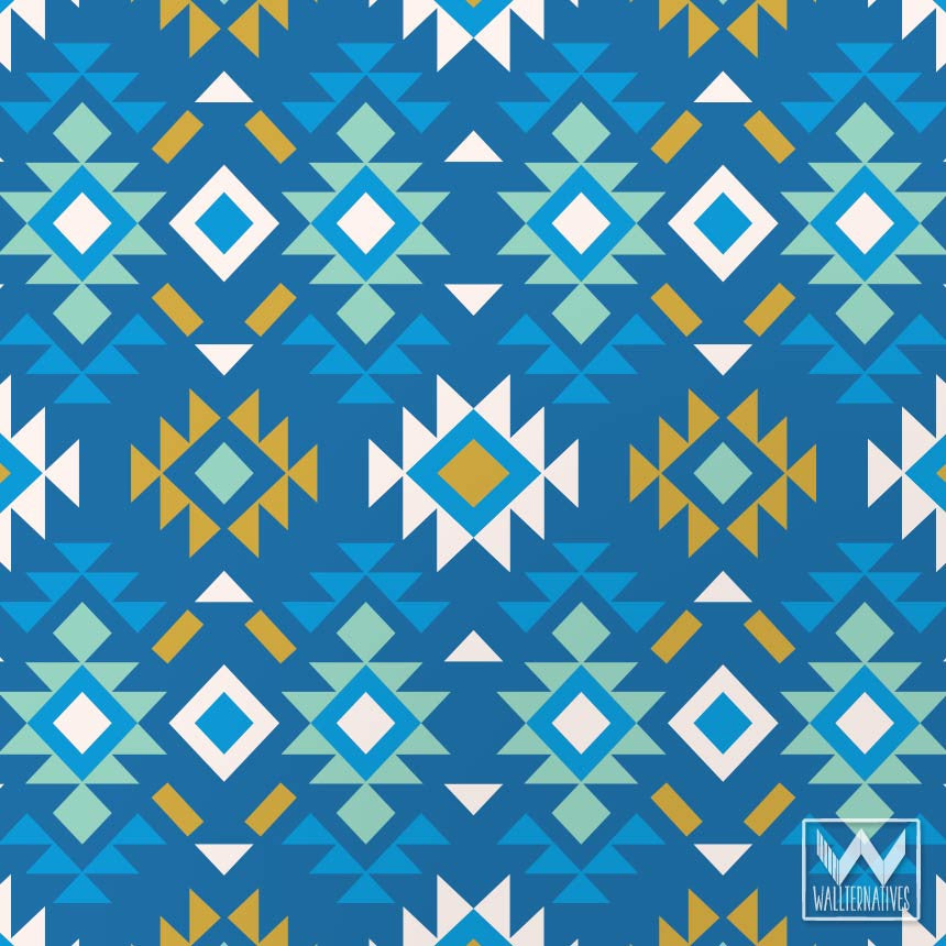 Blue Tribal Wallpapers: Decorative Graphic Removable Wallpaper