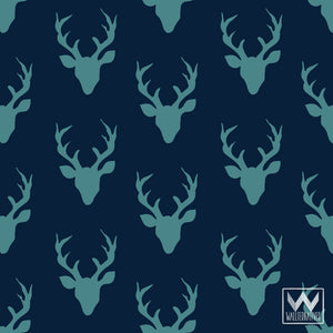 Blue Rustic Deer Antlers Removable Wallpaper Pattern for Trendy Designer Wall Decor - Wallternatives