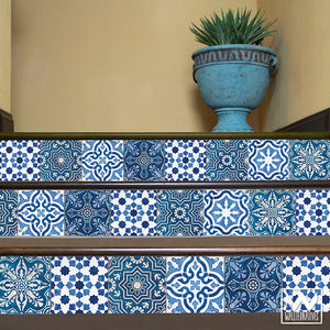 Navy and Indigo Blue Old World Spanish Tiles Design - DIY Stair Riser Decals for Decorating - Wallternatives