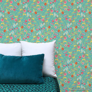 Blue and Teal Colorful Flower Wall Mural - Removable Wallpaper for Bedroom Wall Art - Wallternatives
