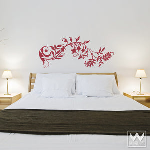 Decorative and Ornate Flower Vinyl Wall Decals for Chic Bedroom Decor - Wallternatives