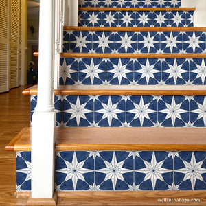 You're A Star Tile Stair Riser Decals: White on Blue