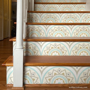 Bohemian Decor Mandala Wallpaper Stair Design Decals - Wallternatives wallternatives.com
