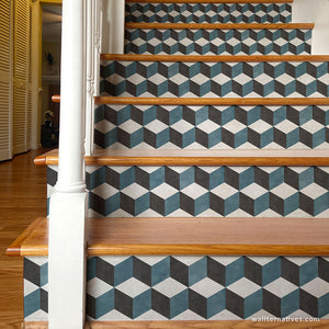 Tumbling Blocks Stair Riser Decals: Blue