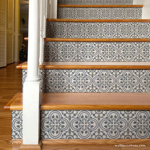 Blue and White Spanish Tiles Stair Riser Decals - Wallternatives wallternatives.com