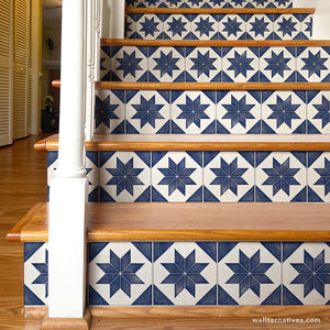 Decorative Tiles Stair Decals Wallpaper Stair Stickers Blue Stair Tiles