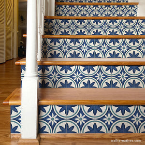 Blue Moroccan Tile Stairs Peel and Stick Decals - Wallternatives wallternatives.com