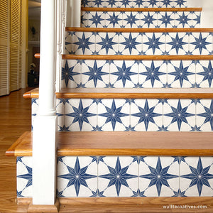 Blue Tile Stairs Design Modern Farmhouse Decor DIY Stair Riser Decals - Wallternatives wallternatives.com