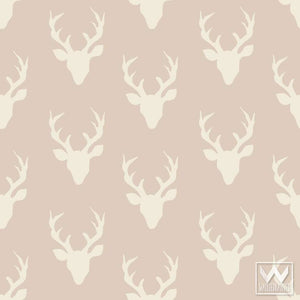 Designer Bonnie Christine Removable Wallpaper for Wallternatives - Cute Deer Heads and Deer Antlers