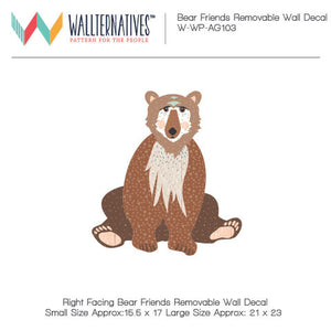 Cute Bear Wall Decor for Kids Rooms - Bear Friends Bonnie Christine Removable Wall Decals - Wallternatives