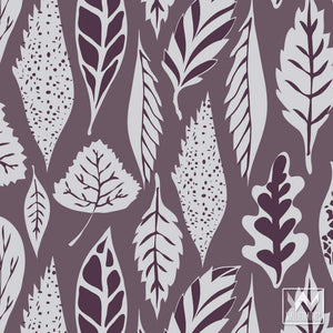 Decorating an Accent Wall with Purple Removable Wallpaper and Modern Tree Leaf Designs