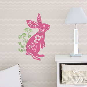 Flowers and Bunny Vinyl Wall Decals for Girls Room Decor - Wallternatives