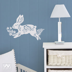 Wall Stickers for Easy Nursery or Kids Rooms - Colorful Bunny and Flower Vinyl Wall Decals - Wallternatives