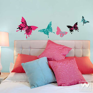 Decorate a dorm or girls room with floral pattern and butterfly wall art - Removable Wall Decals