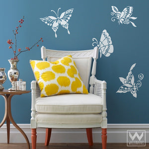 Decorative Wall Art - Colorful Butterfly Vinyl Wall Decals - Wallternatives