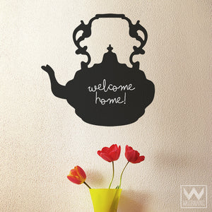 Tea Pot Kitchen Wall Decor - Chalkboard Vinyl Wall Decals - Wallternatives