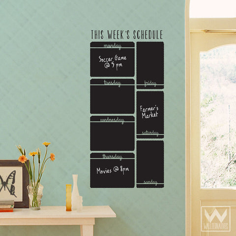 week schedule calendar to do list reminder chalkboard vinyl wall