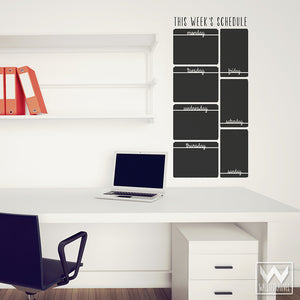 Vertical Week Schedule Chalkboard Vinyl Wall Decals for Dorm Decor