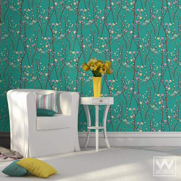 Springtime Removable Wallpaper With Willow Tree Branches