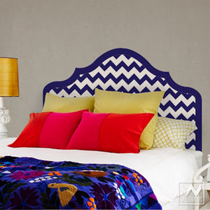 Blue and White Modern and Geometric Classic Chevron Pattern Headboard Removable Wall Decals for Dorm Decor - Wallternatives