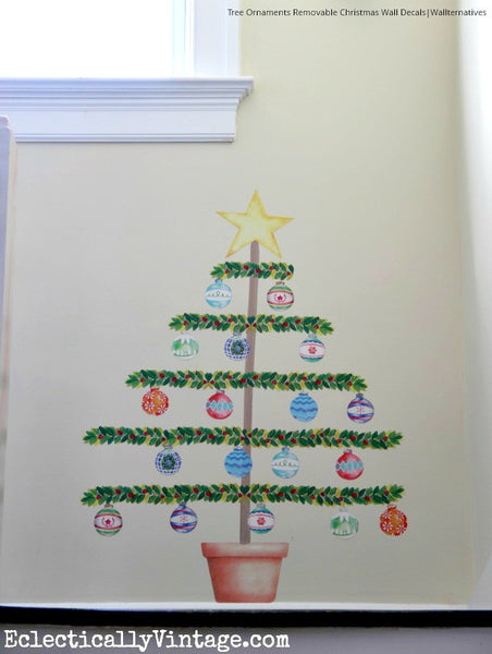 Christmas Wall Decals Removable.Tree Ornaments Removable Christmas Wall Decal Set