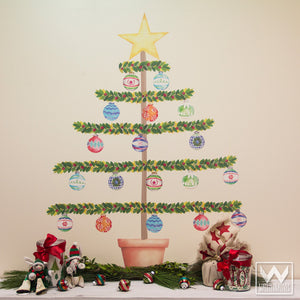Christmas Tree Ornaments Removable and Reusable Wall Decals for Holiday Decorating