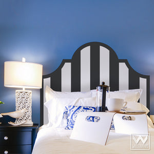 Black and White Modern and Geometric Classic Stripes Pattern Headboard Removable Wall Decals for Dorm Decor - Wallternatives