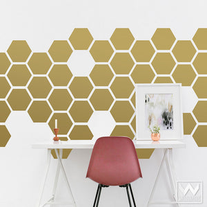 Medium Hexagons Shapes Vinyl Wall Decals for Honeycomb Bee Nursery Decor or Modern Mid Century Bedroom - Wallternatives